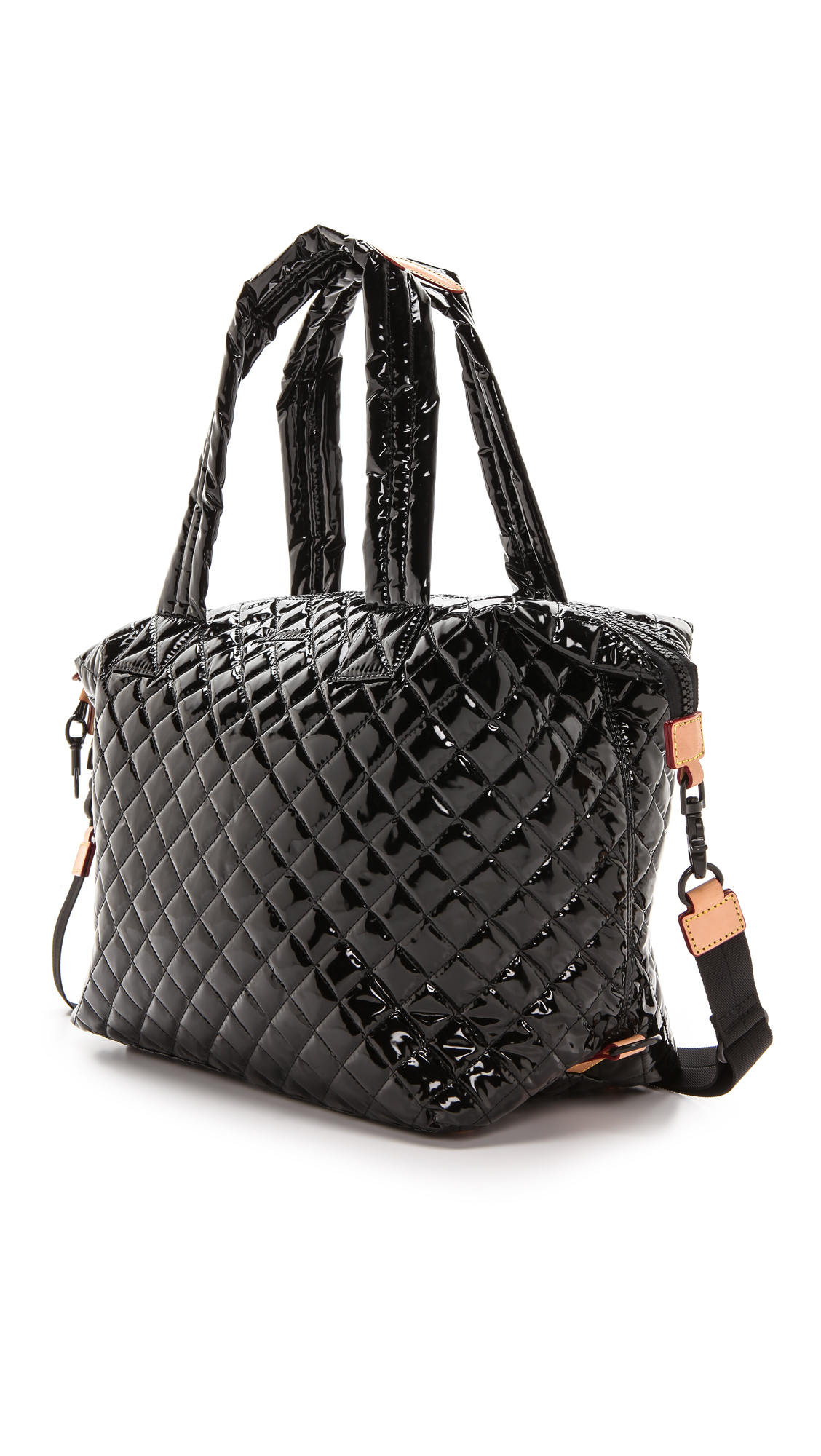 Lyst Mz Wallace Lacquered Large Sutton Tote Black In Black