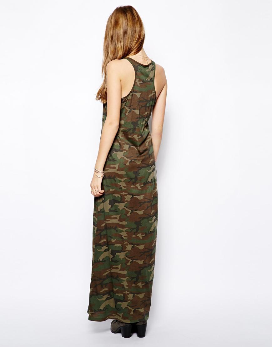 Lyst Ralph Lauren Camouflage Maxi Dress In Green