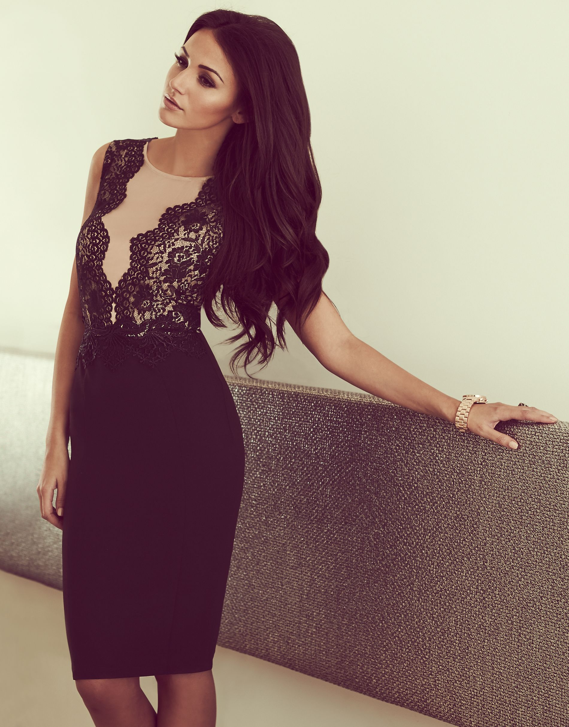 Michelle Keegan Loves Lipsy Mesh Floral Embroidered
