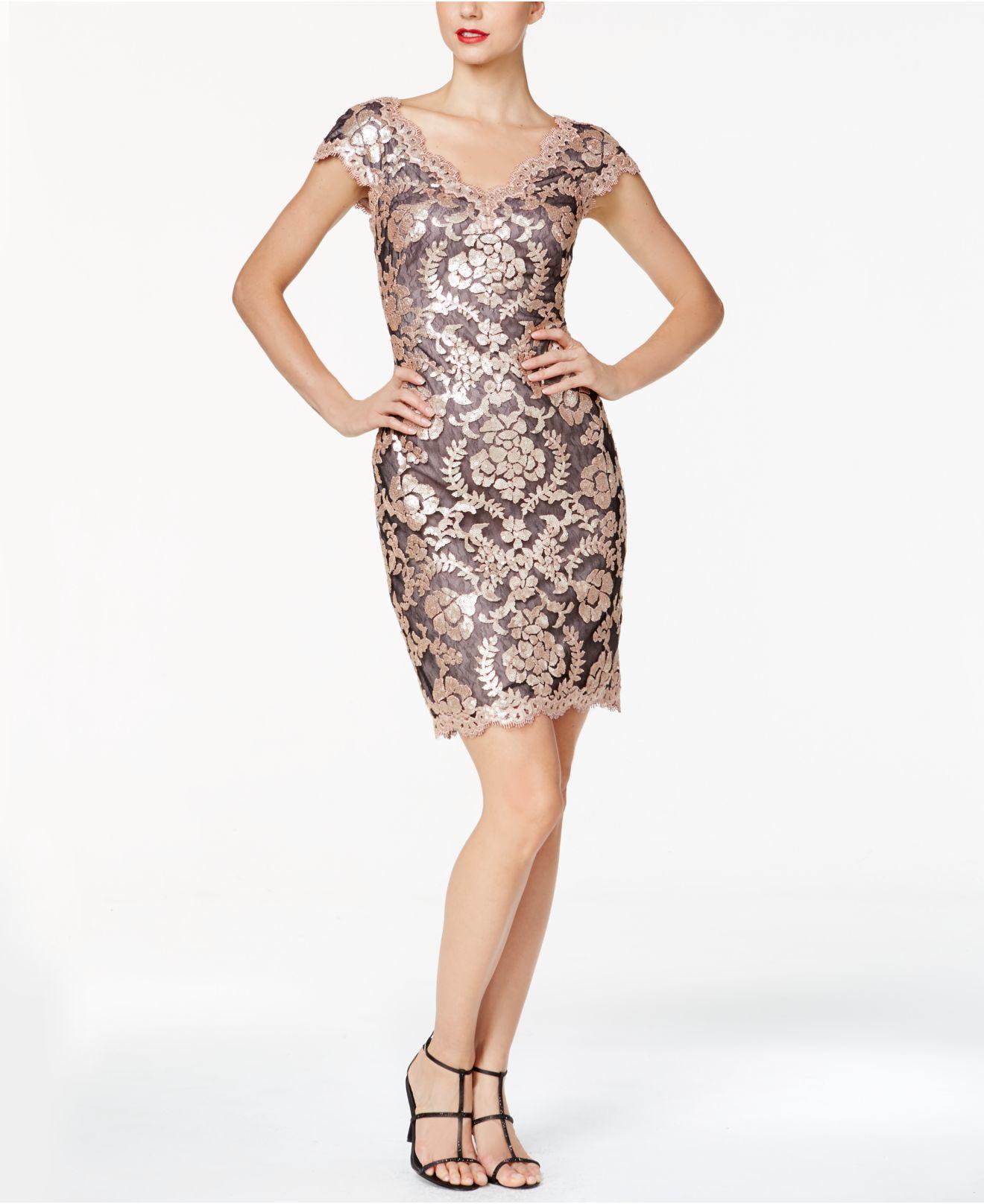 Lyst Tadashi Shoji Double V Sequin Sheath Dress In Pink