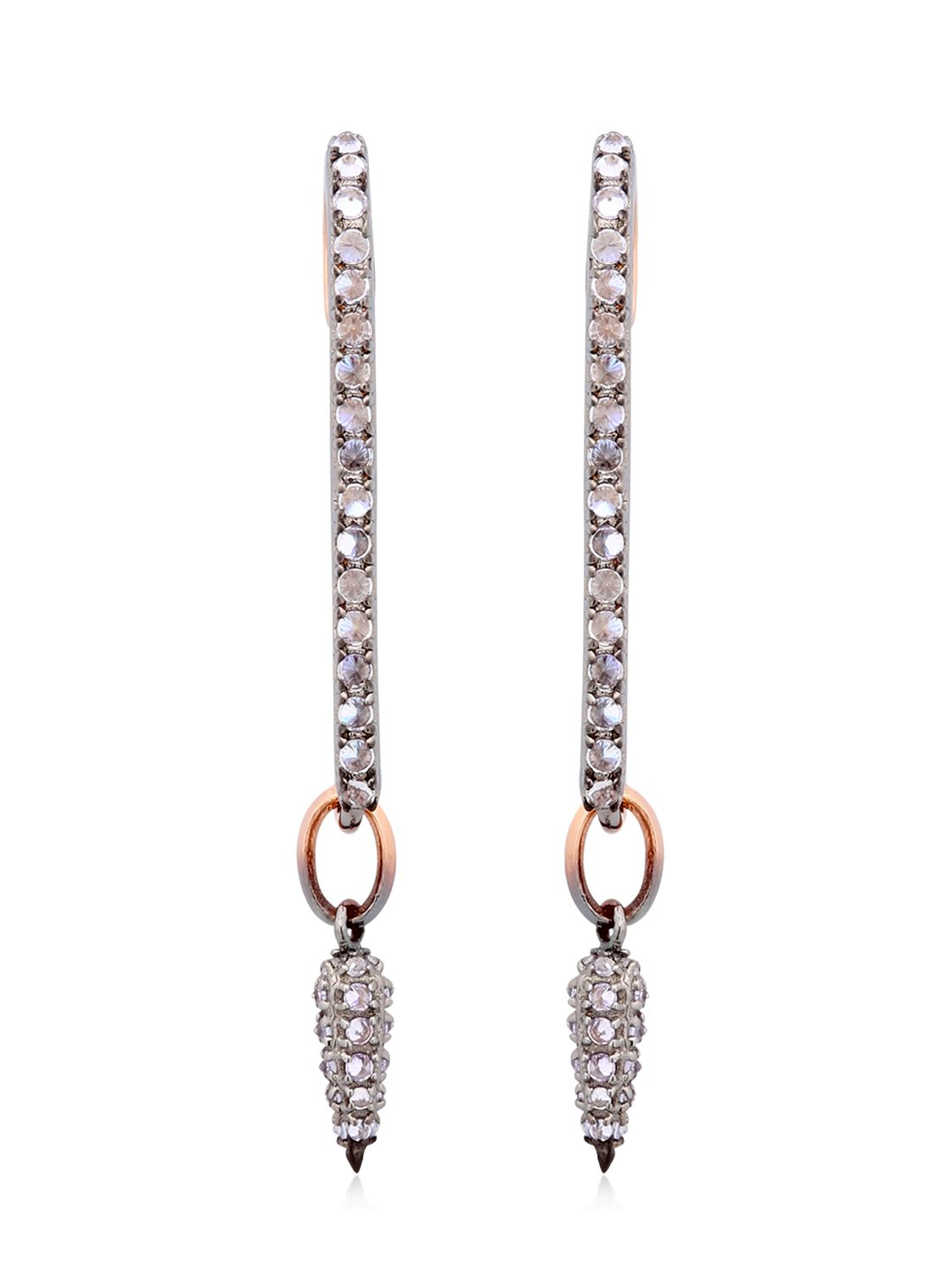 Katie Rowland Safety Pin Drop Earrings In Silver Pink