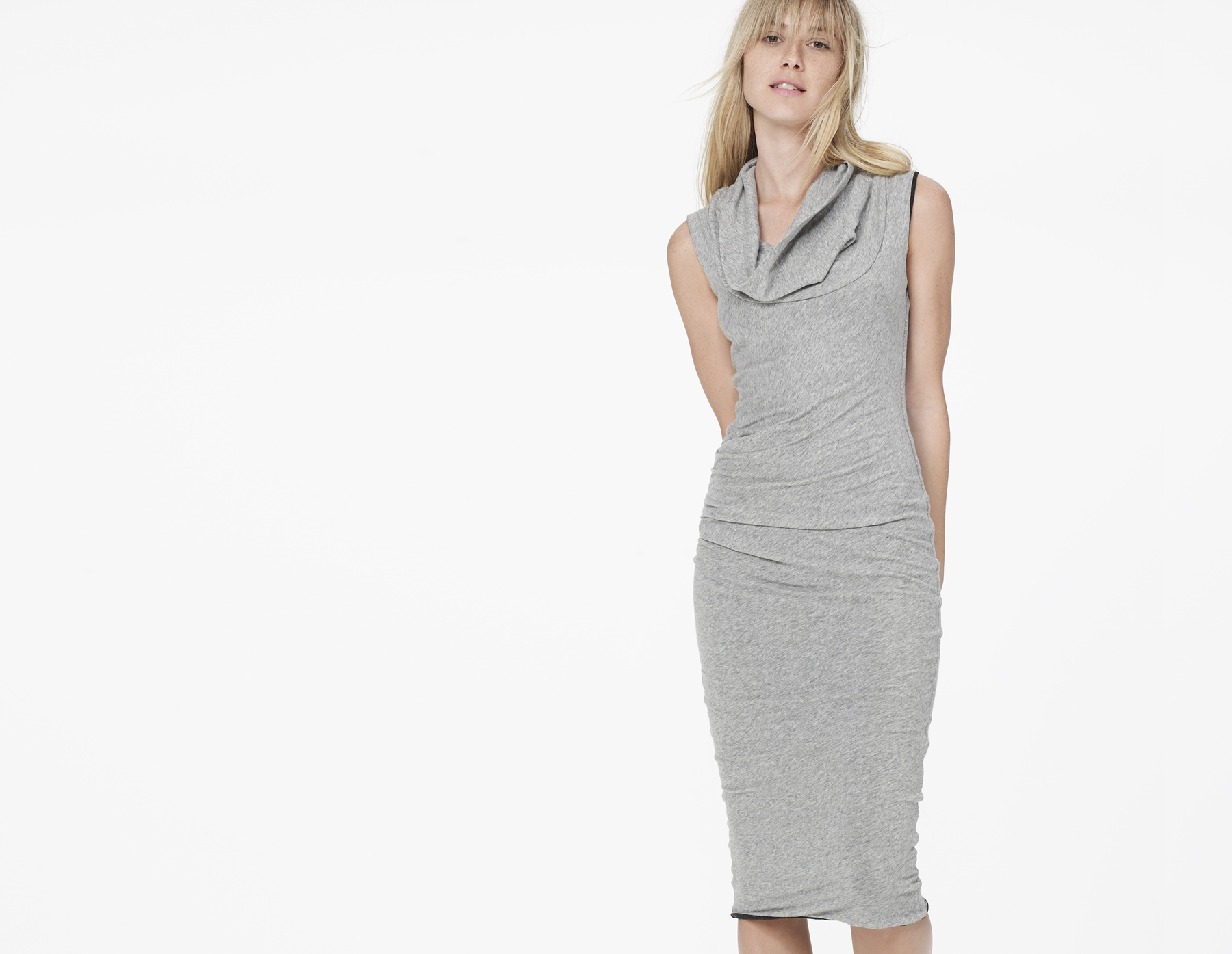 James Perse Cowl Neck Skinny Dress In Gray