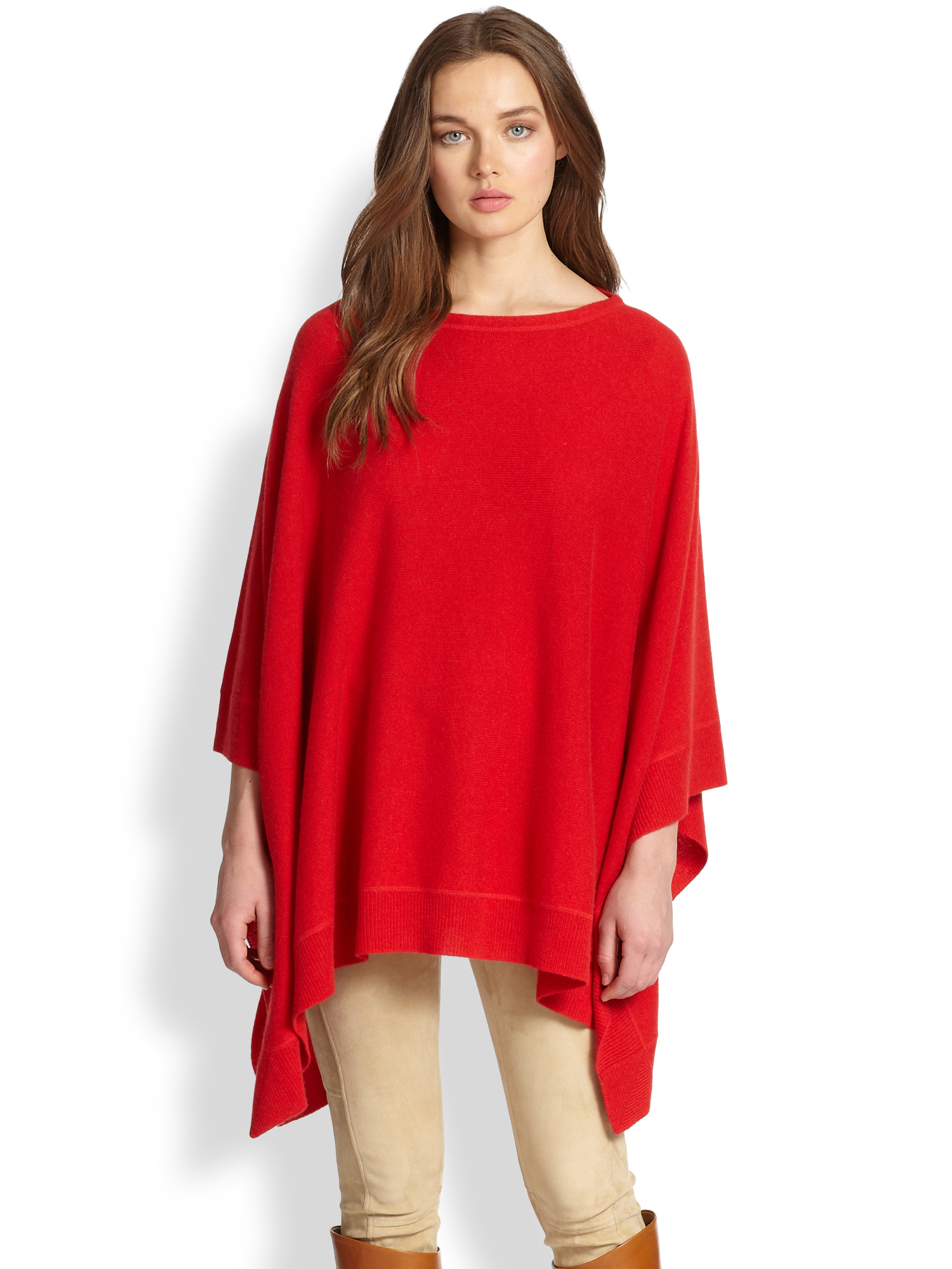 Lyst Ralph Lauren Blue Label Cashmere Poncho In Red