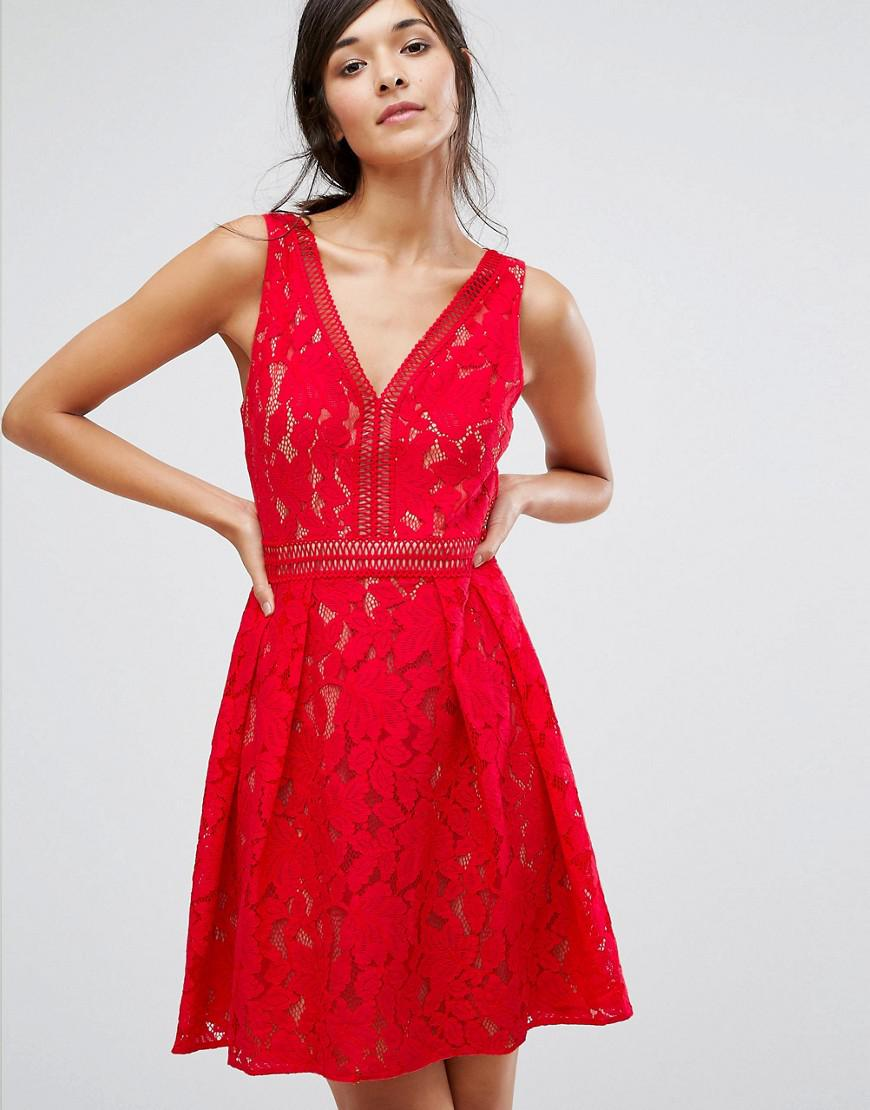 Oasis Lace Mini Skater Dress In Red Lyst