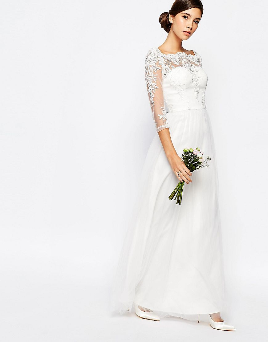 Lyst Chi Chi London Bridal Bardot Neck Maxi Dress With