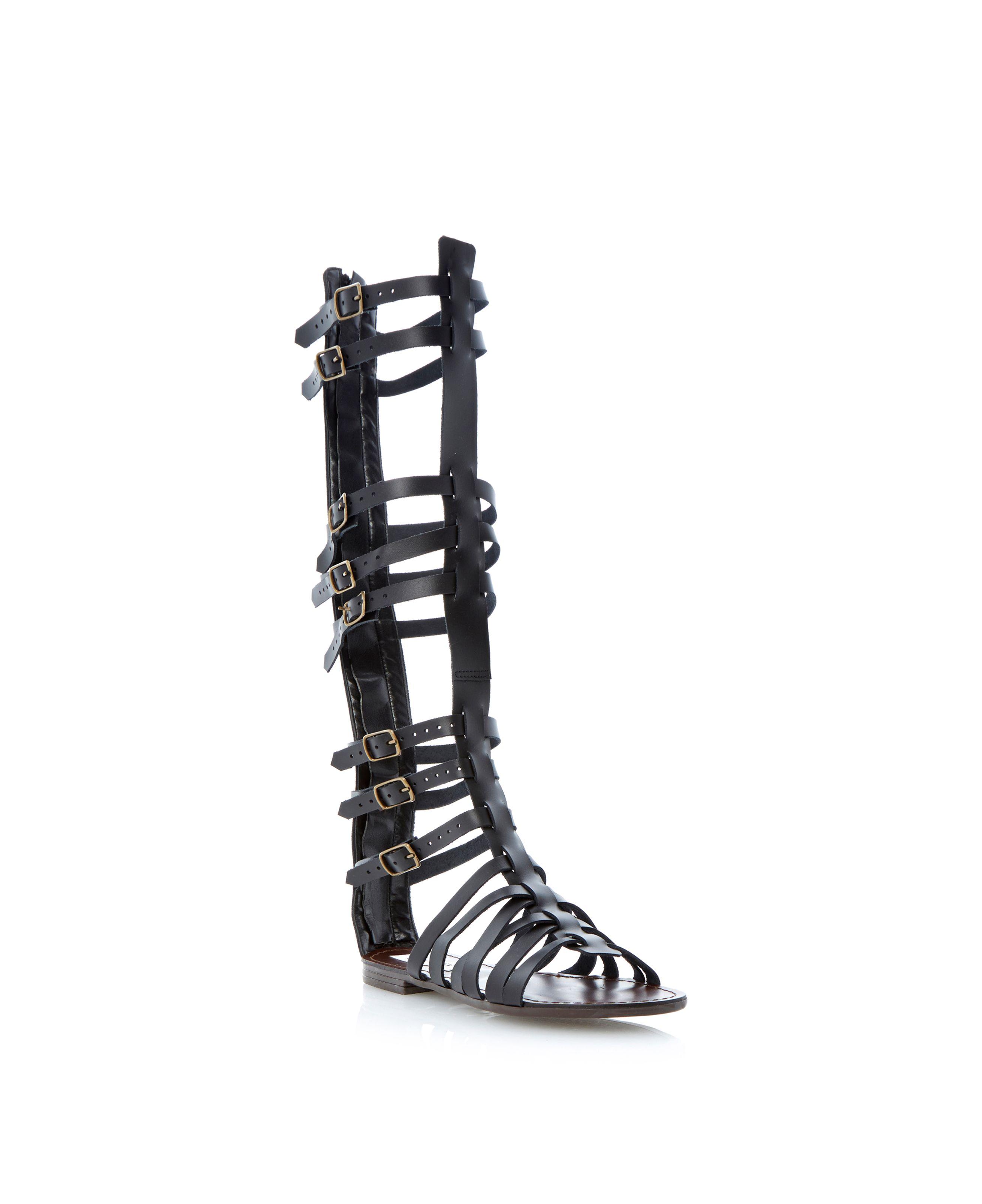 Steve Madden Sparta Hi Leg Gladiator Sandals In Black