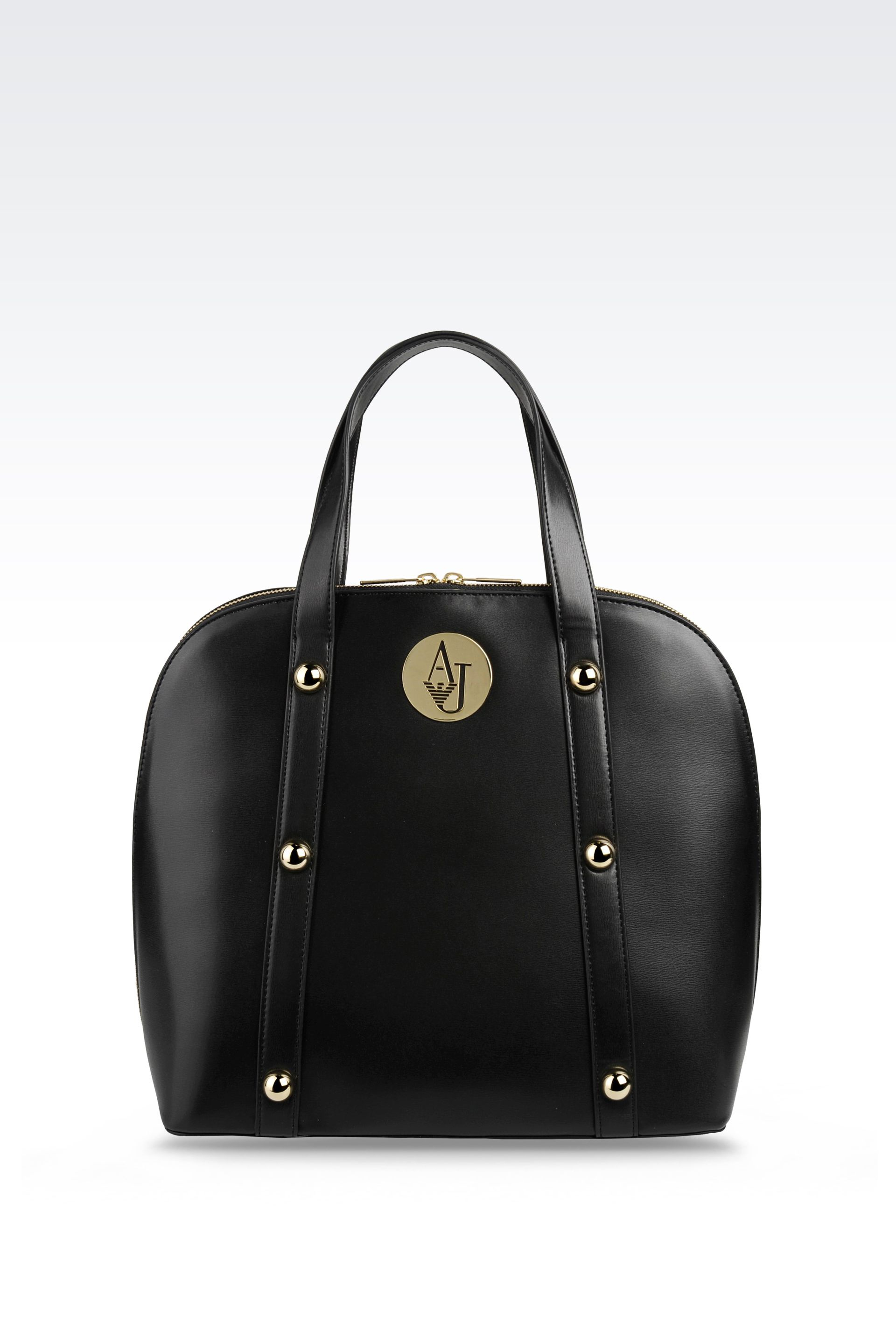 Lyst Armani Jeans Tote Bag In Glossy Faux Leather In Black