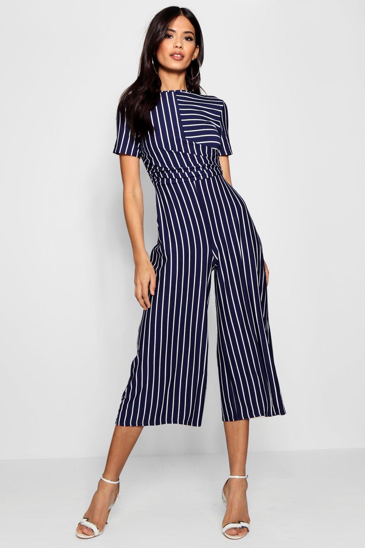 5e77593edb24 Boohoo Striped Wrap Culotte Jumpsuit In Blue Lyst. Boohoo Women S ...