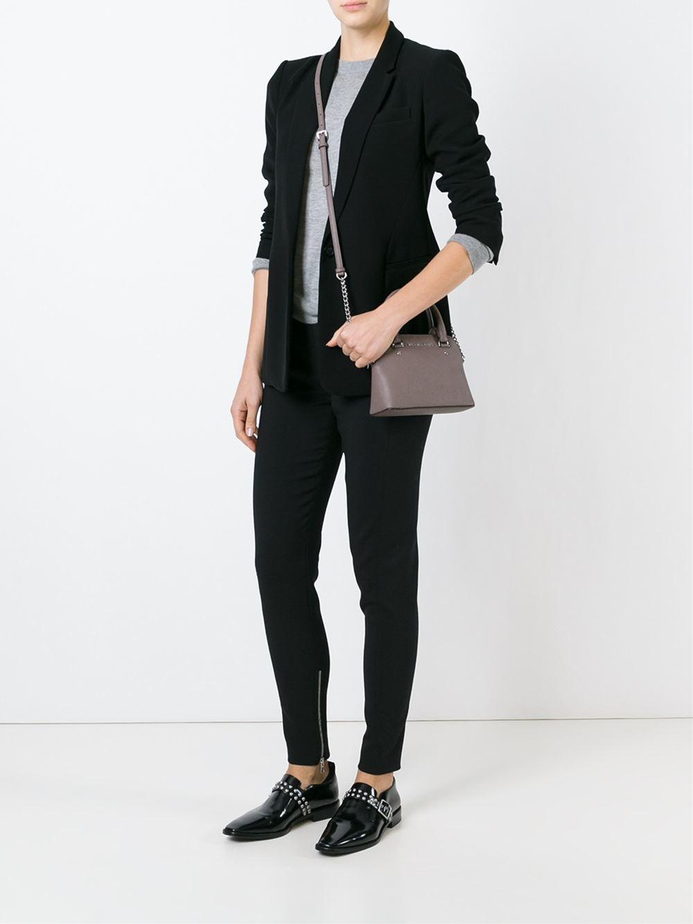 948dd05f922a81 Michael Michael Kors Cindy Mini Cross Body Bag In Gray Lyst ...