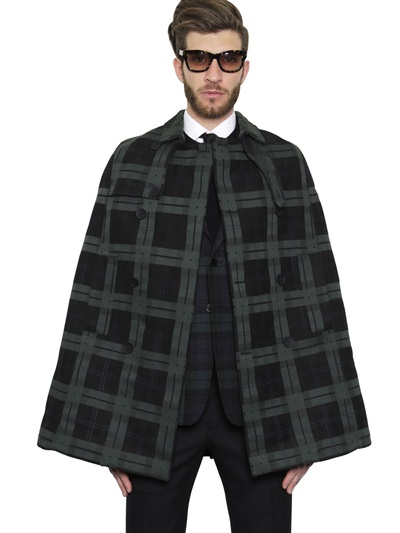 Valentino Green Wool Tartan Cape