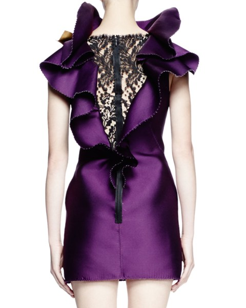 Lyst   Lanvin Sleeveless Ruffle neck Mini Dress in Purple Gallery