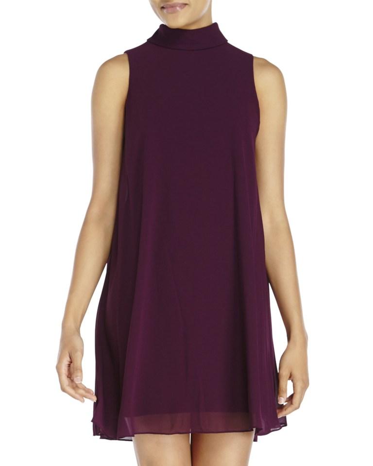 Resultado de imagen de vince camuto plus size purple shift dress sleeveless with mock neck