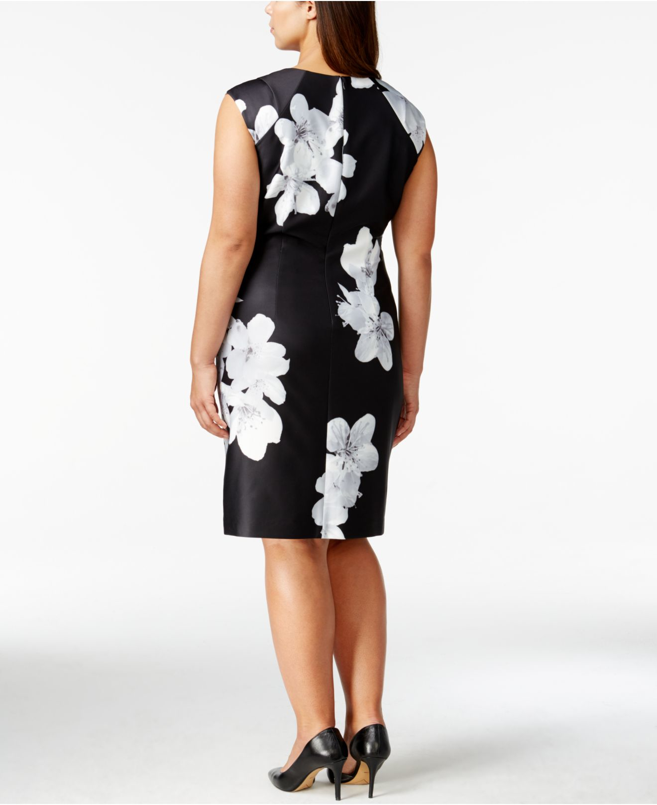 Plus Size Gray Floral Dress