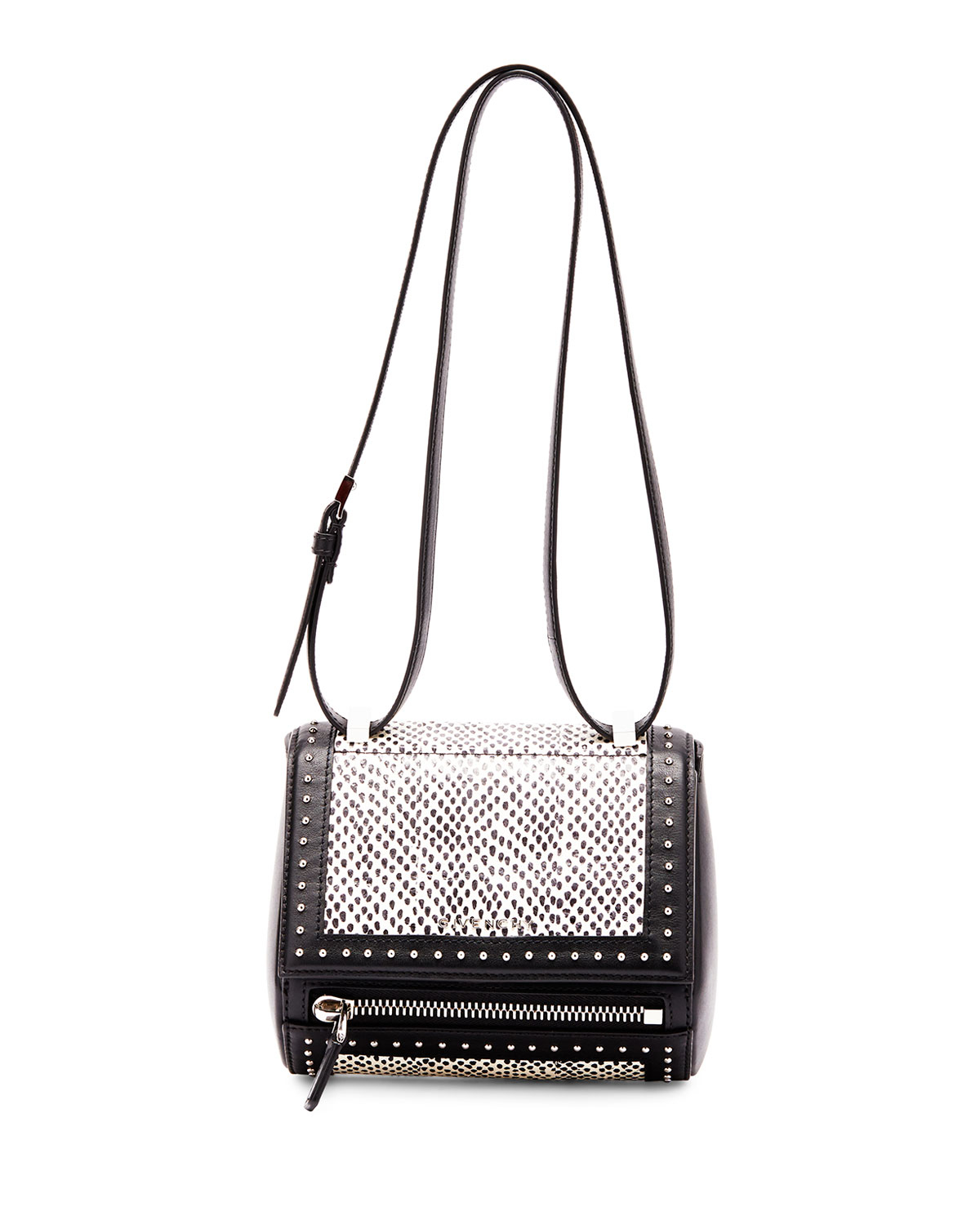 Givenchy Pandora Box Mini Snakeskin Shoulder Bag In Black