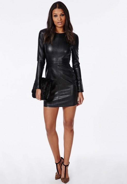 Missguided Pu Leather Mini Dress Black In Black Lyst