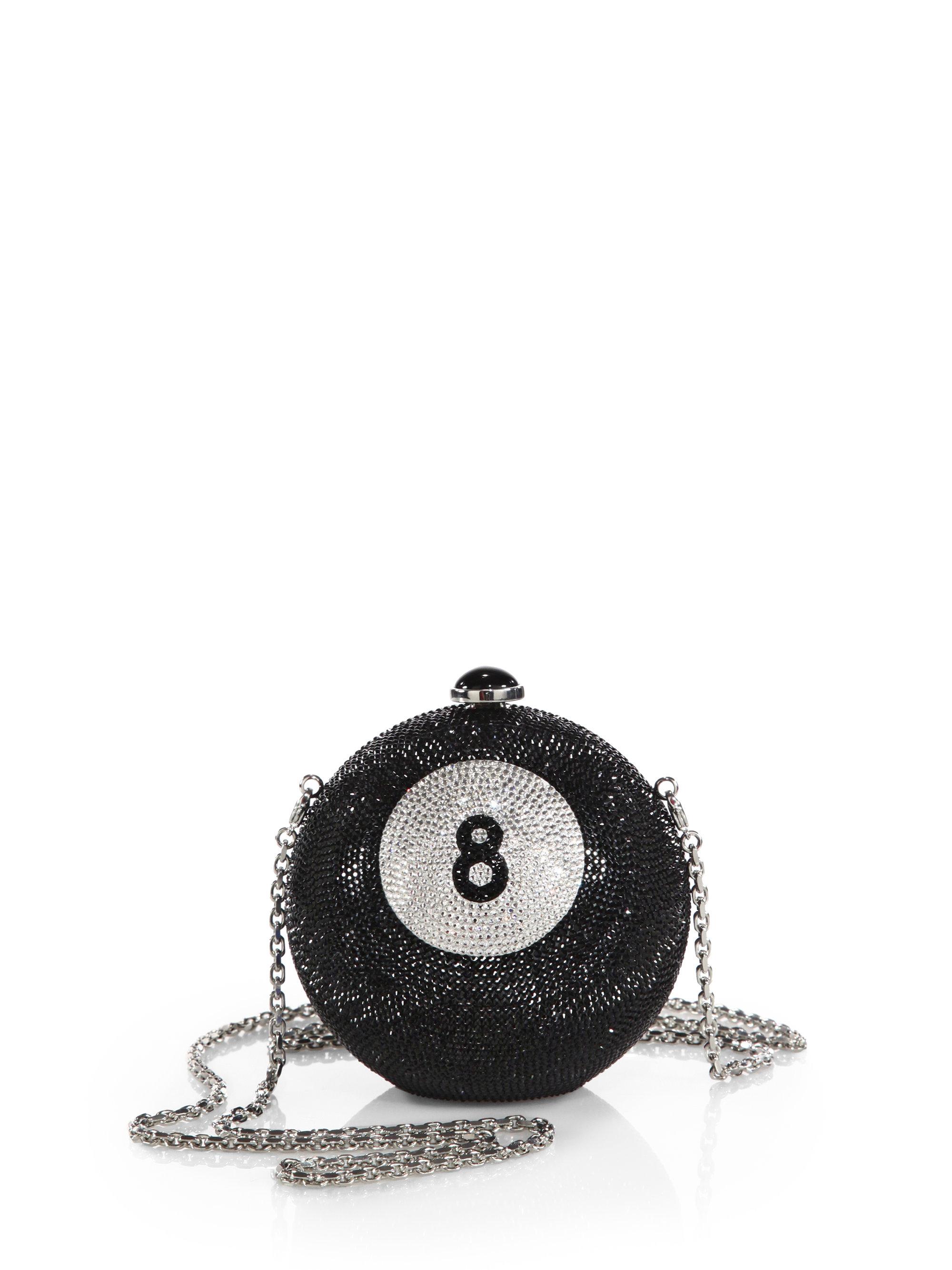 Judith Leiber Eight Ball Swarovski Crystal Clutch In