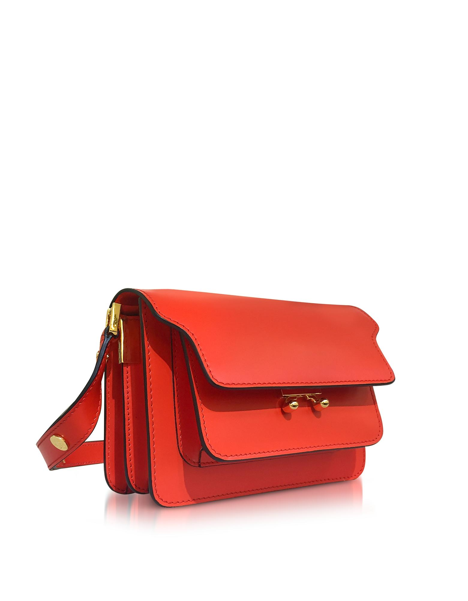 Lyst Marni Poppy Red Leather Mini Trunk Bag In Red