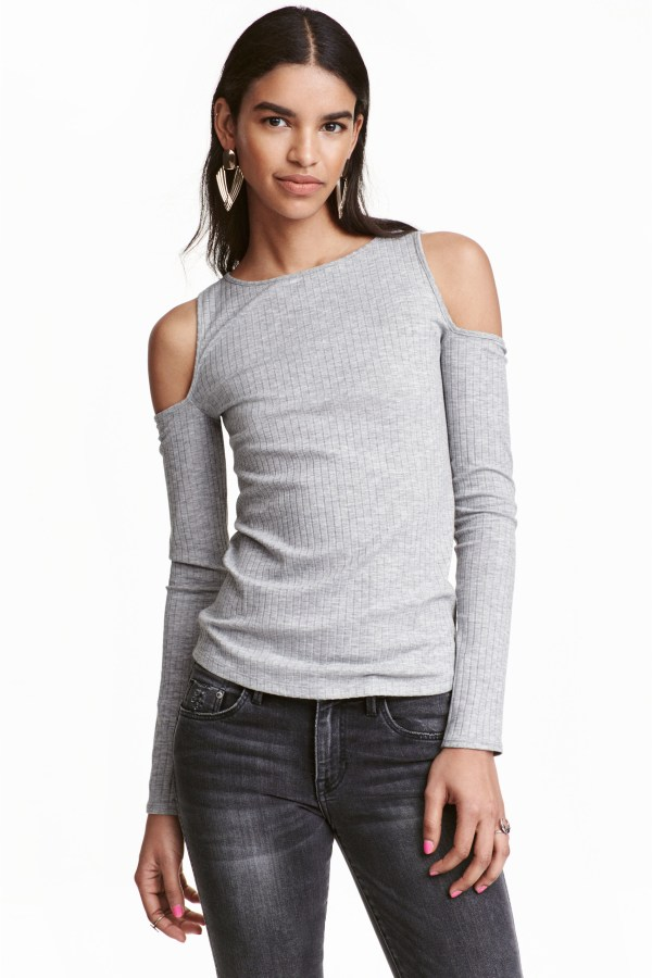 H&M Ribbed Cold Shoulder Top in Gray - Lyst
