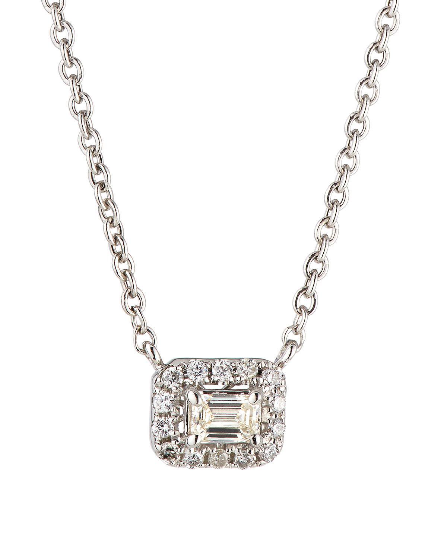 Neiman Marcus 14k White Gold Diamond Rectangular Solitaire