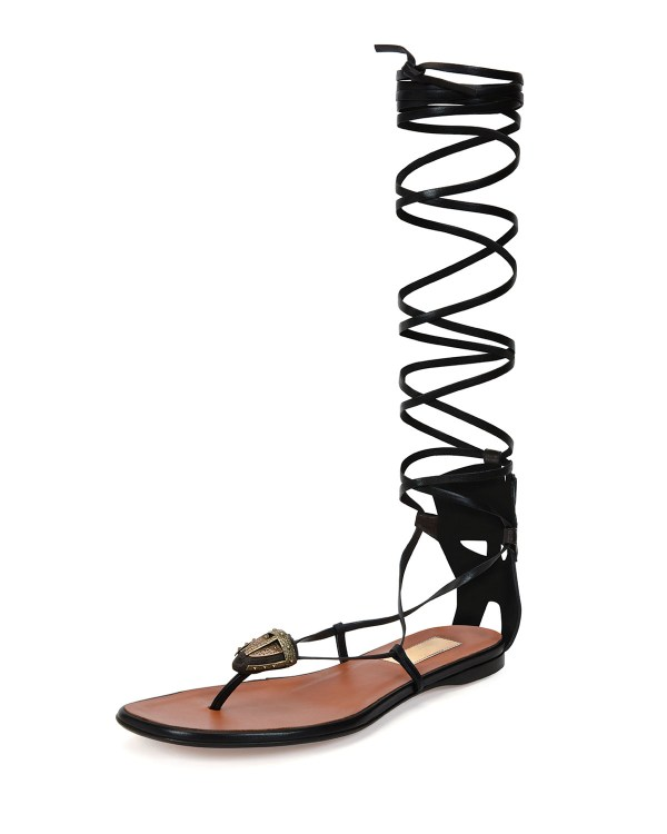 Valentino Mask-Detail Lace-Up Sandals in Black | Lyst