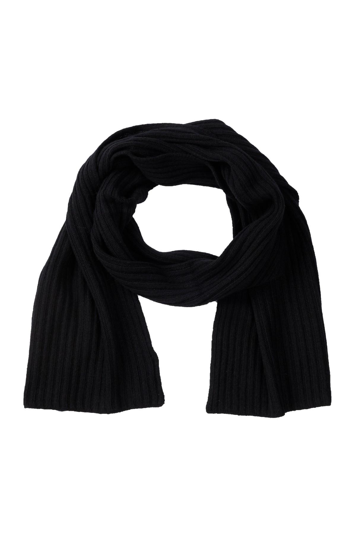 Portolano Black Cashmere Ribbed Scarf In Black