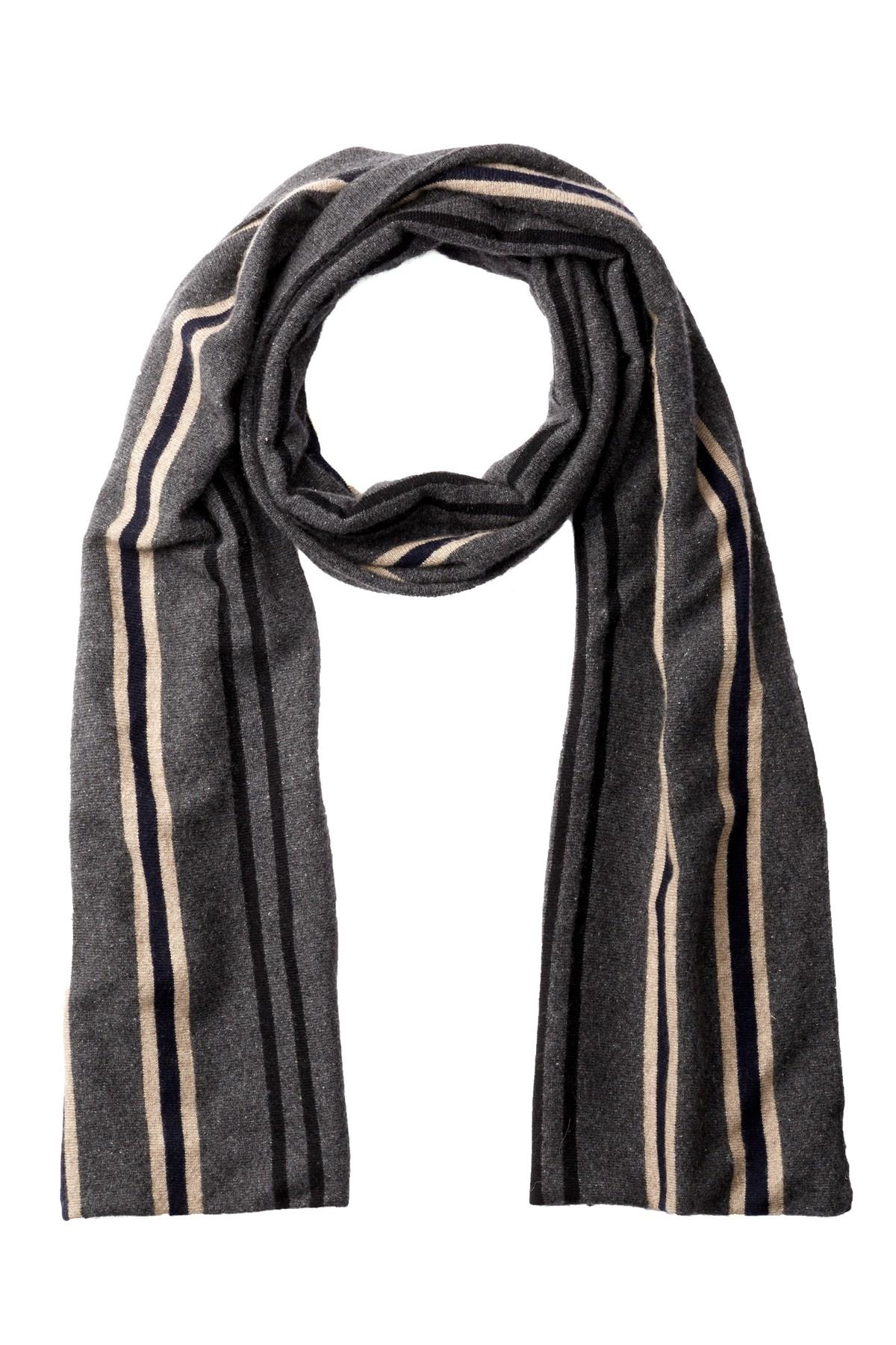 Portolano Multi Color Striped Scarf In Black For Men