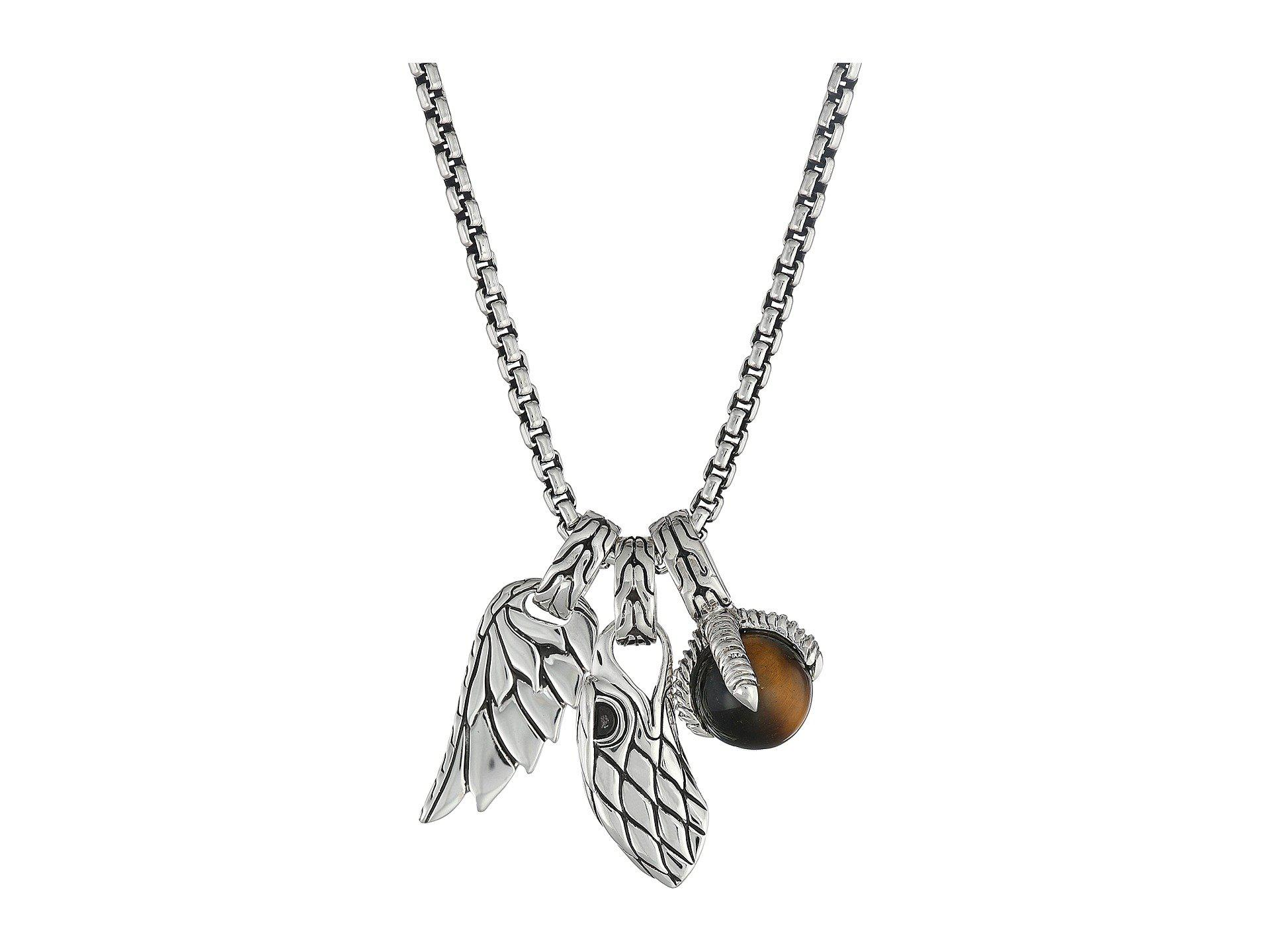 John Hardy Legends Eagle Charm Necklace With Tiger Eye In
