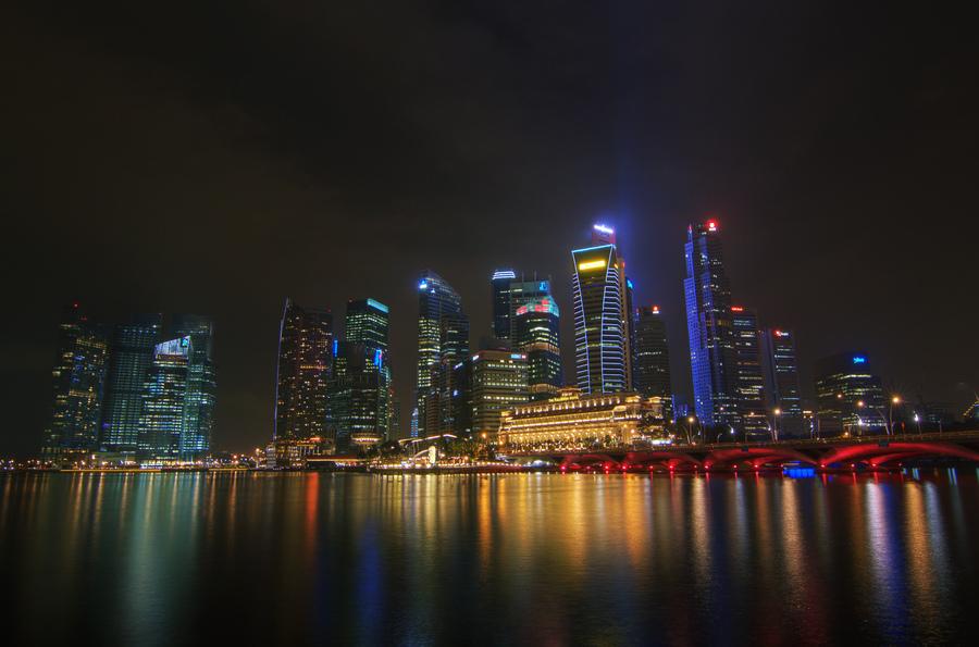 Singapore city at night | HDR creme