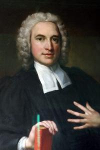 A portrait of Charles Wesley in his wig hangs inside The Old Rectory in Epworth.