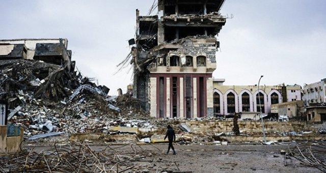 Le bâtiment de l'Université de Mossoul après la libération