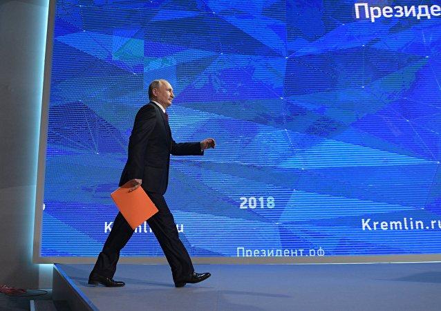 20 декабря 2018. Президент РФ Владимир Путин во время ежегодной большой пресс-конференции в Центре международной торговли на Красной Пресне.