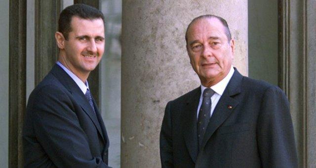 Bachar el-Assad et Jacques Chirac