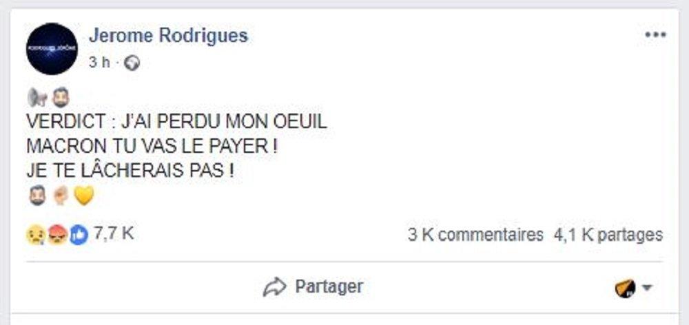 Capture d'écran de la page de Jérôme Rodrigues