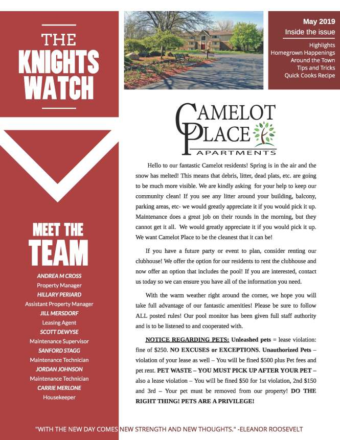 The Camelot Place Apartments Community