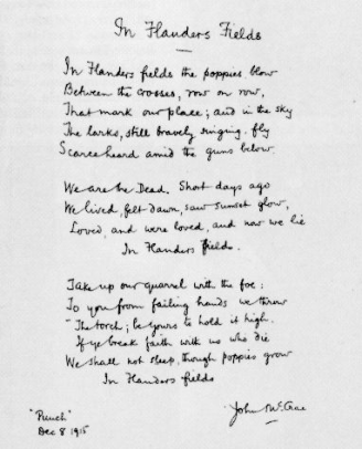 John McCrae wrote his famous war poem in 20 minutes during the Battle of Ypres (1915).