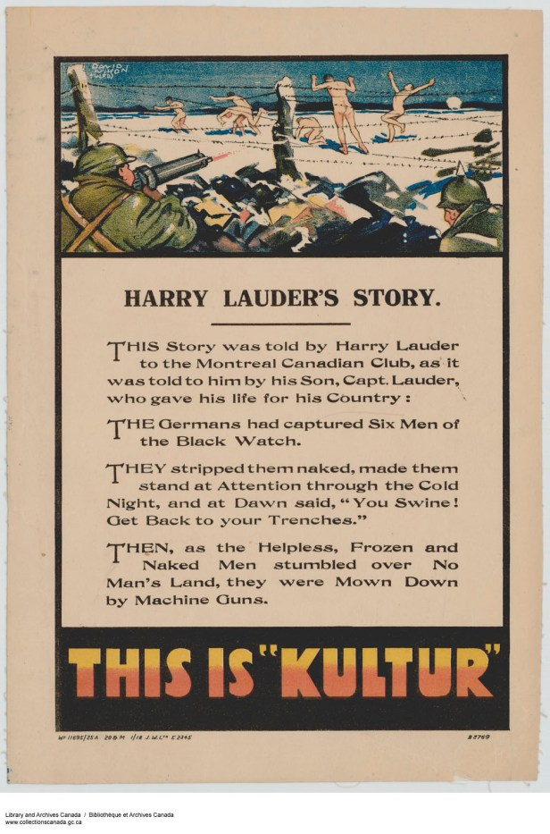 Excluding the previous poster, I actually had a hard time finding racist/jingoistic examples from WW1 that were made in Canada. WW2 is where everyone really stepped it up. Most of the anti-German posters were about presenting their war tactics as cruel and evil, as opposed to reducing the population to negative stereotypes.