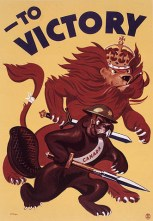 The Canadian beaver is going to go kick some German ass with his wooden...spear thing, with help from the British Lion.