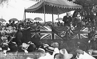William Lyon Mackenzie King at a Liberal Party rally during the federal election campaign of 1921. Apparently during the early 1920s, if you were campaigning in Canada you had to pretend you were actually in Britain. (King went on to win a minority government, defeating Conservatives under Prime Minister Arthur Meighen).