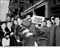 There was a hell of a lot of kissing when the war ended. This kiss occurred (three months prior to the famous VJ-Day one in Times Square) in Toronto to celebrate VE-Day.