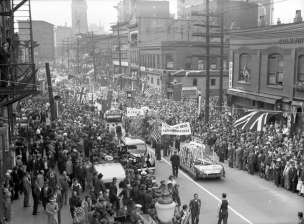 Members of Vancouver's Chinatown also held a parade in celebration of VJ-Day. Thousands attended.