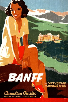 Looks like the woman from Ewart's Nova Scotia Calling ad was on a cross-country tour. Here she is taking in Banff and Canadian Pacific's hotel there. CP owned many, many things back in the day.