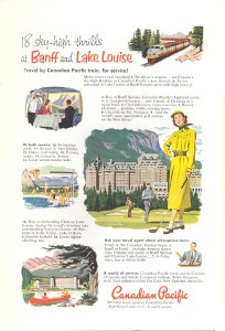This 1952 ad for Banff & Lake Louise likely appeared only in magazines given the amount of text used.