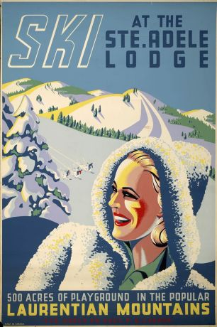 "Most vintage Quebec ads depict the province as a ""Winter Wonderland"" and often include someone skiing. This one focuses on the Laurentian Mountains."