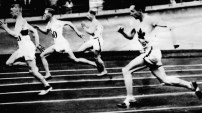 Percy Williams, (far right) won gold the men's 200m at the 1928 Amsterdam Games. This was his eight race in four days. He also won gold in the 100m race.