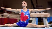Kyle Shewfelt makes the splits look easy at the 2004 Athens Games where he took home gold in Men's Gymnastics.