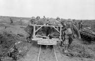 Bringing Canadian wounded to the Field Dressing Station at Vimy Ridge