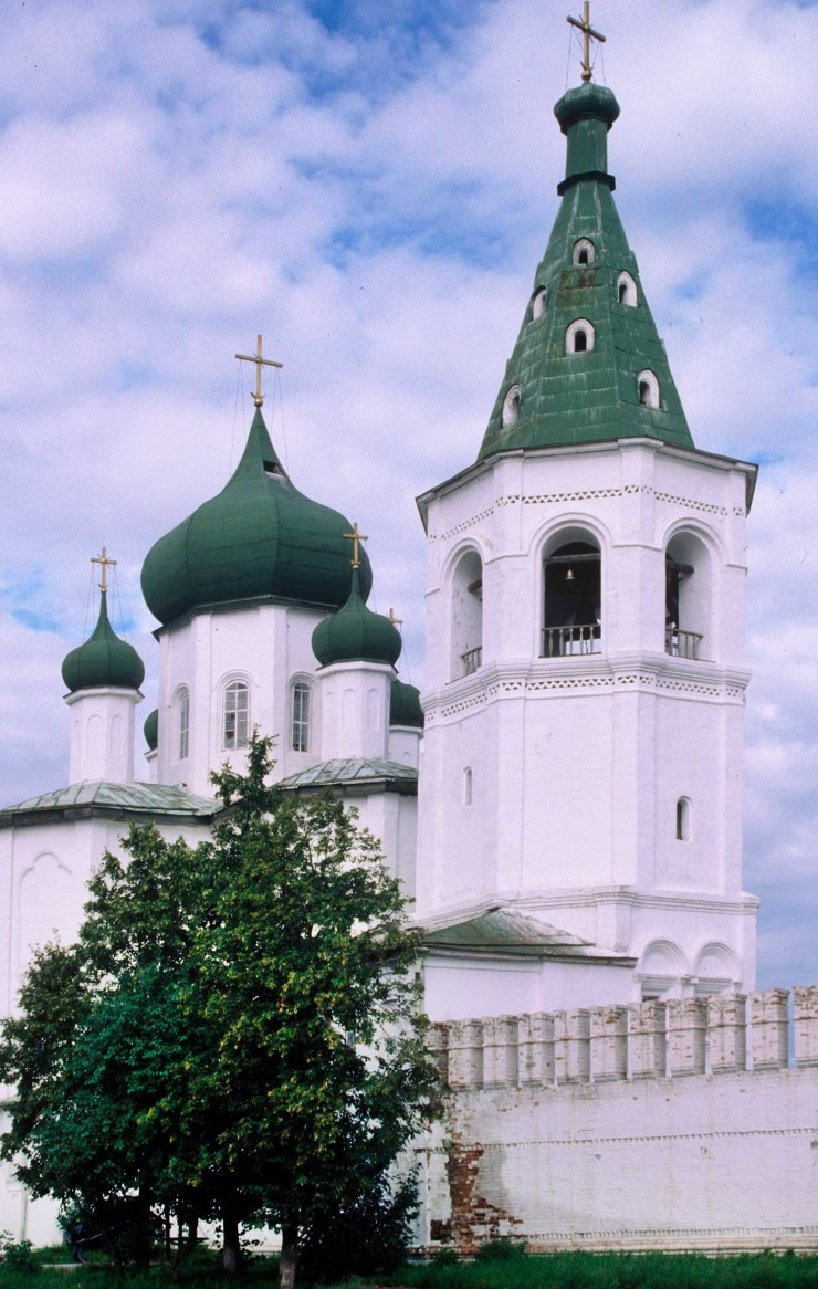 Trinity Monastery. Bell tower with Church of Sts. Peter and Paul. Southeast view. Aug. 29, 1999.