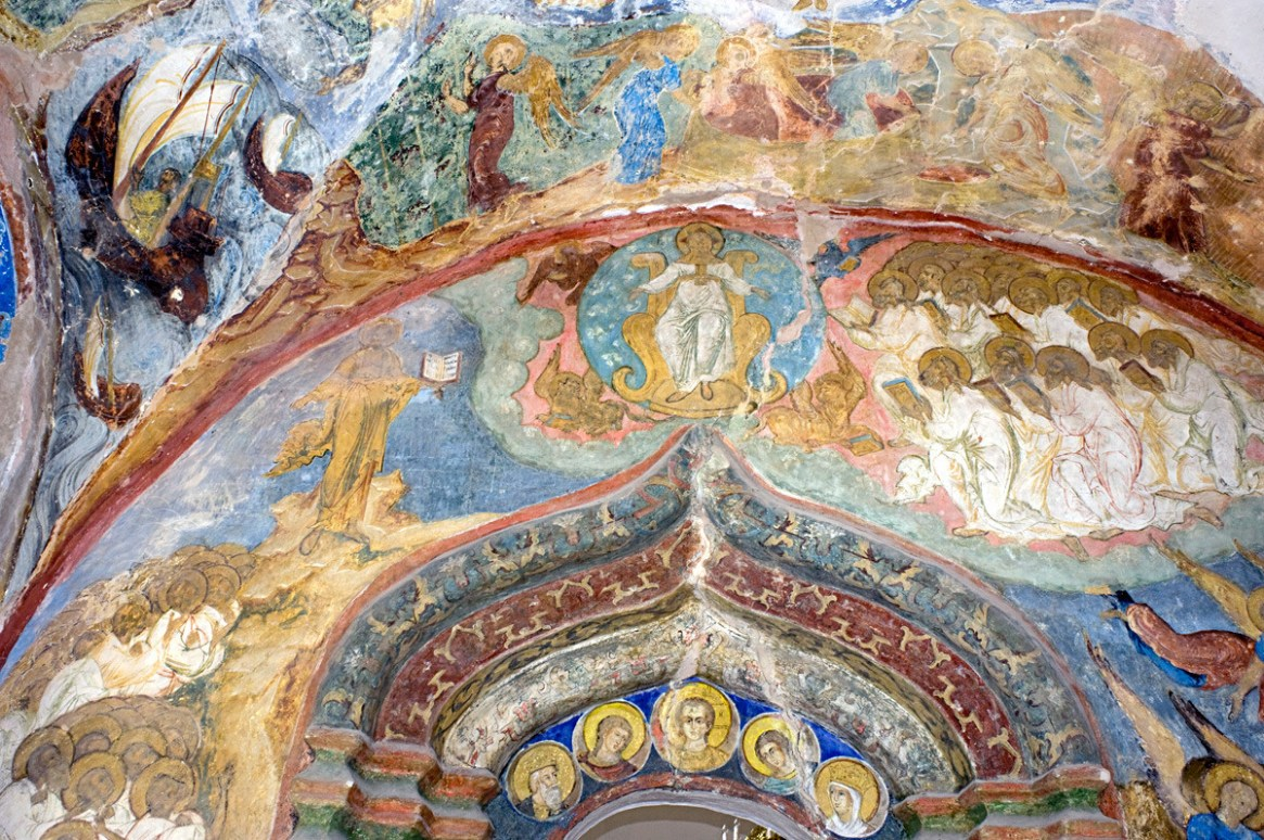 St. Kirill Belozersk Monastery. Dormition Cathedral, north gallery. East wall with fresco of Christ