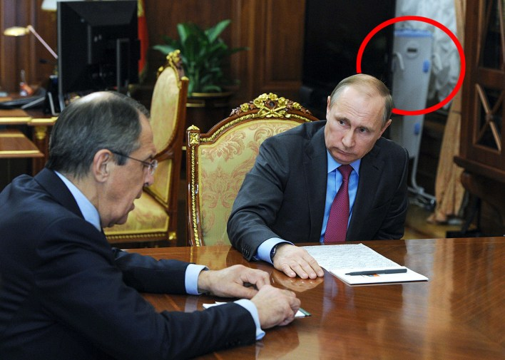 March 16, 2016. Russian President Vladimir Putin (right) and Russian Foreign Minister Sergey Lavrov during a meeting in the Kremlin