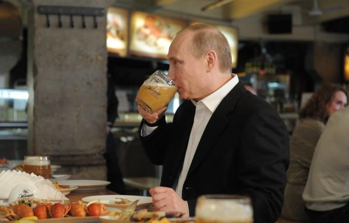 Vladimir Putin at the Zhiguli bar in Moscow, 2012.